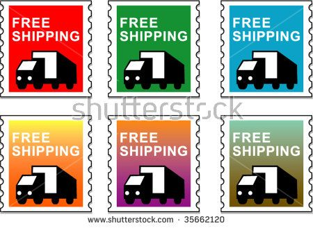 Stamp with delivery truck showing free shipping set on different color backgrounds #stamp #retro #illustration