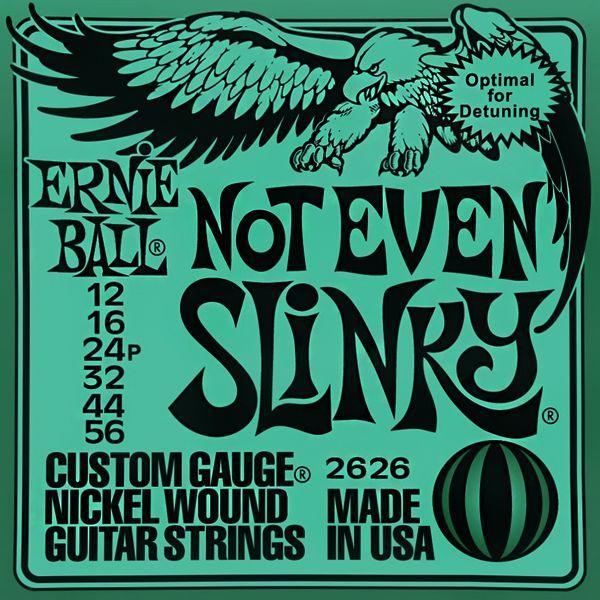 Ernie Ball 2626 Not Even Slinky - Jeu de 6 cordes pour guitare électrique. Adapté pour du drop tuning. Tirants : 012 - 016 - 024p - 032 - 044 - 056