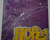 "Hope, 12""x12"" hand-painted canvas Handmade by StreetHart Studios"