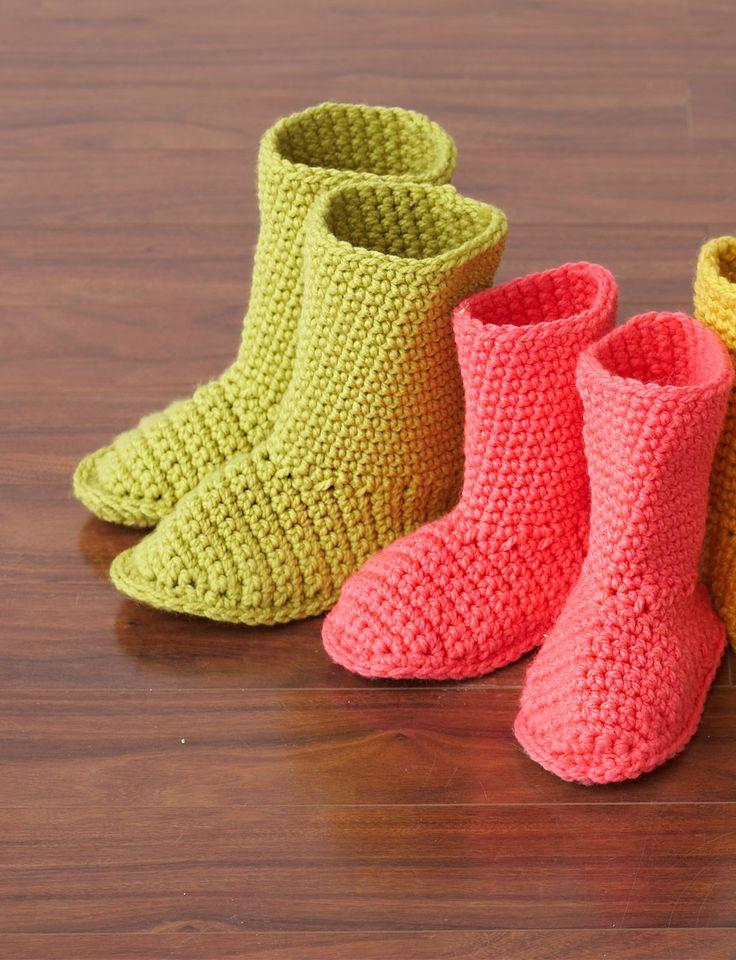 Yarnspirations Free Crochet Patterns : Slipper Boots Yarn Free Knitting Patterns Crochet ...