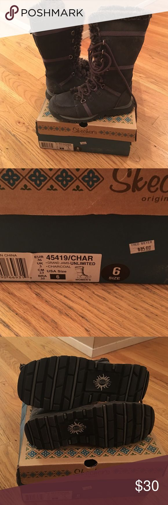 Sketchers boots grand jams unlimited size 6 Sketchers boots grand jams unlimited size 6 charcoal color comes with set of extra laces.                 45419/CHAR Sketchers Shoes Lace Up Boots