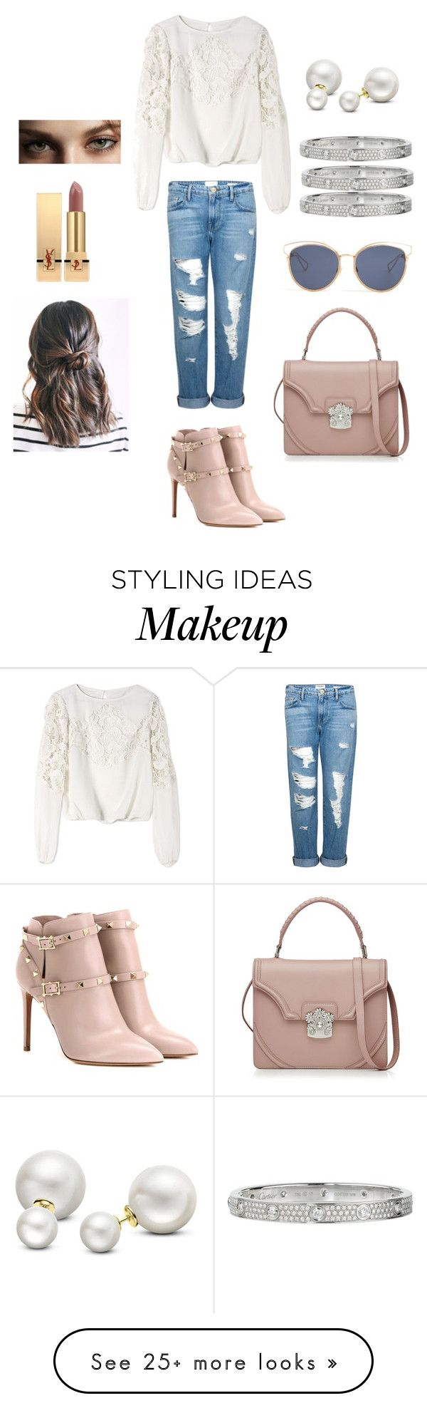 """""""LA"""" by ea-l026 on Polyvore featuring Valentino, Alice + Olivia, Frame Denim, Allurez, Cartier, Christian Dior, Alexander McQueen, Burberry and Yves Saint Laurent"""