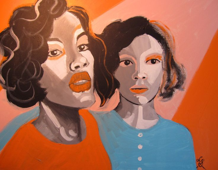 Orange and Blue Twins by loriville on Etsy