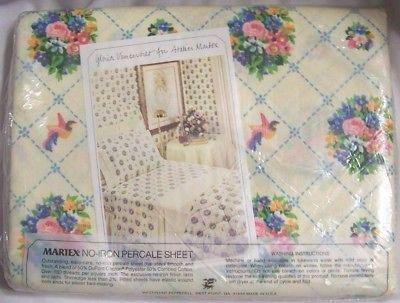 Vintage Full Flat Sheet Atelier Martex Victorian Bouquets Gloria Vanderbilt NIP