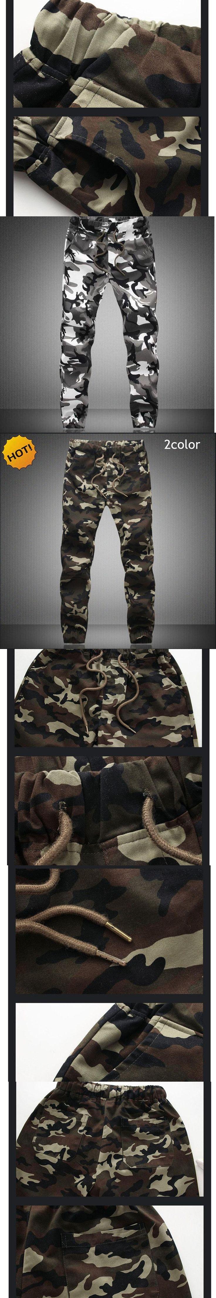 High Quality 2017 Outdoors Casual Camouflage Cotton Elastic Waist Drastring Cargo Harem Pants Men Camo Beam Plus Size 5XL
