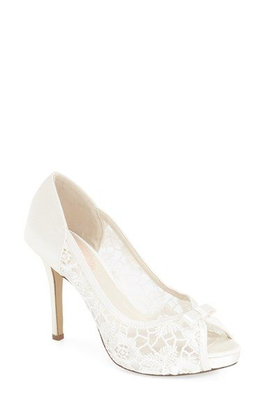 pink paradox london 'Zinnia' Lace Peep Toe Pump (Women) available at #Nordstrom