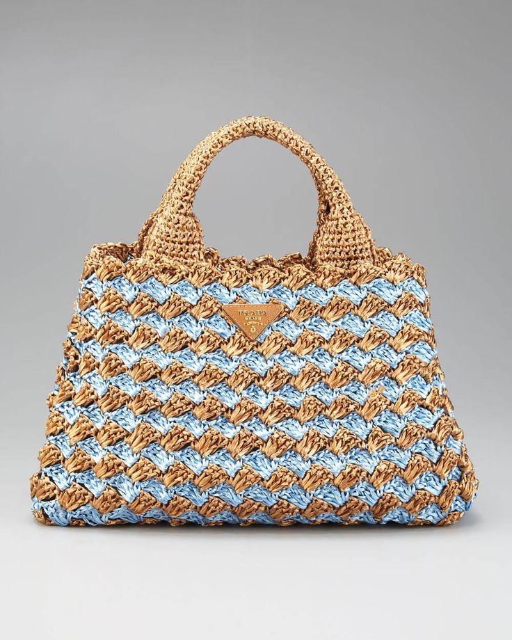 Prada Bi-Color Crocheted Raffia Tote. Basketweave stitch.