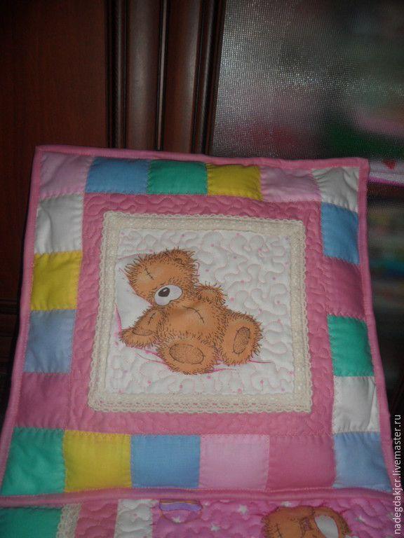 Купить Комплект одеяло и наволочка - брусничный, одеяло детское, одеяло для новорожденного, одеяло лоскутное