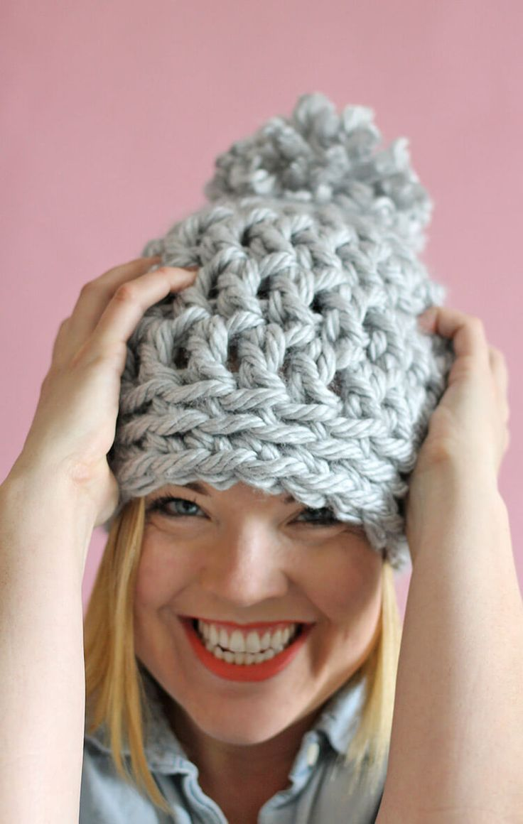 Easy Chunky Crochet mainly double crochet. 1 row of single crochet. Beanie - a 30 minute hat! Free pattern from Persia Lou
