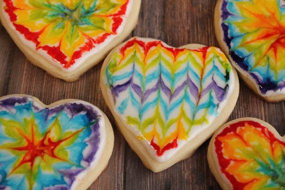 Tie Dye Tie Dye Cookies Rainbow Heart Shaped Cookies Sugar