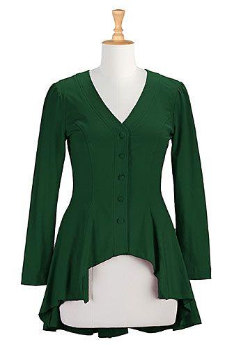 Cotton knit high/low hem top