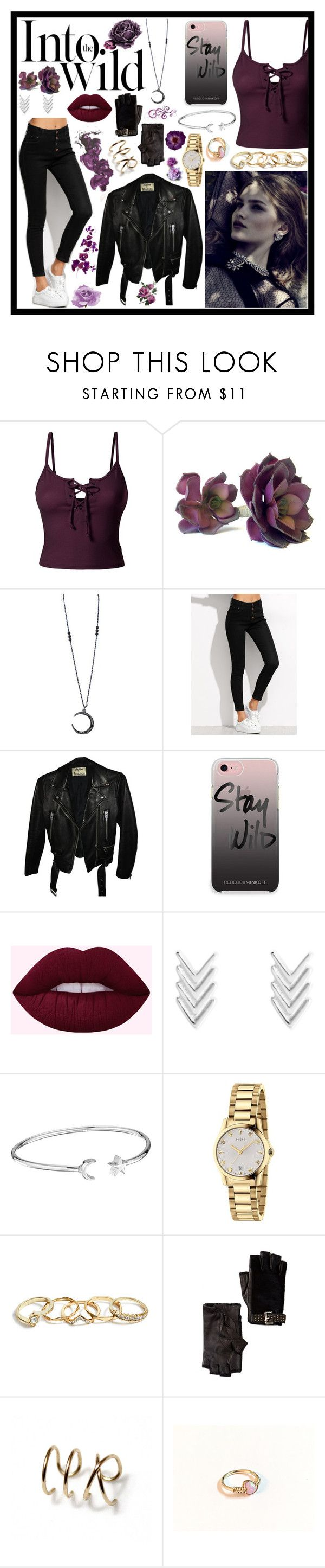 """""""INTO THE WILD"""" by magicxx8 ❤ liked on Polyvore featuring LE3NO, Anja, Acne Studios, Rebecca Minkoff, Alex and Ani, Gucci, GUESS, Romeo + Juliet Couture and MICHAEL Michael Kors"""