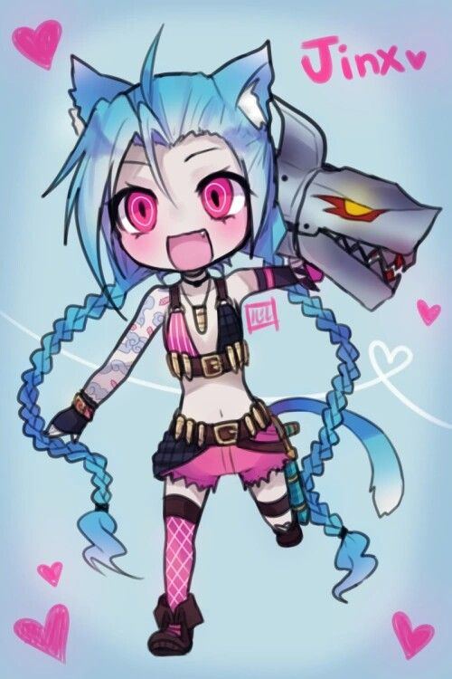 Adorable chibi-like drawing of Jinx! I love it xD