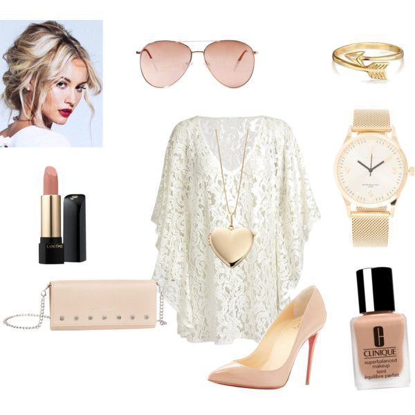 Untitled // 2 by lucywerta on Polyvore featuring polyvore fashion style Chicnova Fashion Christian Louboutin Elements Gold Triwa Bling Jewelry Forever 21 Clinique Lancôme
