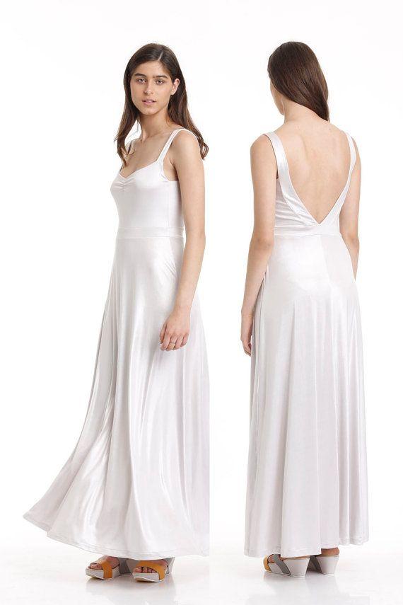 SALE  Shiny white maxi dress Prom maxi dress by FeygeFashion
