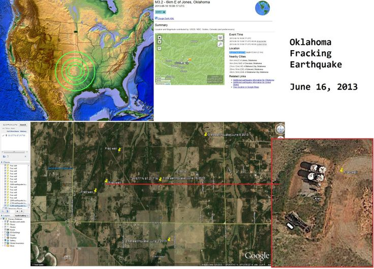 6/24/2013 — Oklahoma 3.0M Earthquake — Inside large fracking operation / injection well cluster : Over the past several months, we've seen multiple moderate earthquakes occur to the north, near Oklahoma City, inside a very large fracking operation just outside of the downtown metropolitan area of OKC.  Now the movement is spreading southeast — producing this earthquake today (3.0M near Coalgate, OK).
