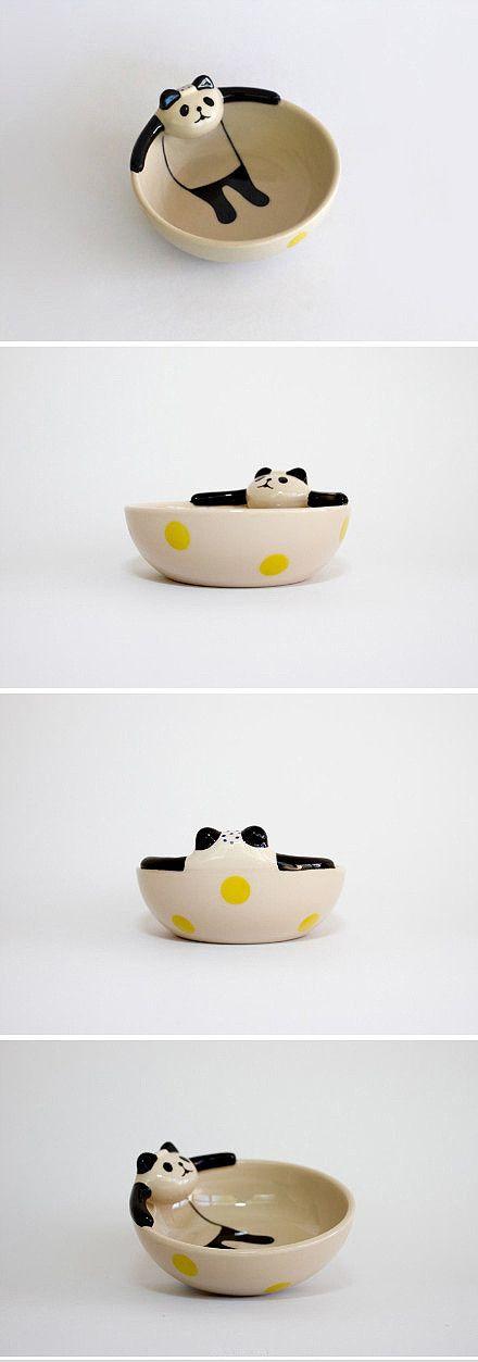 Relaxing panda dish