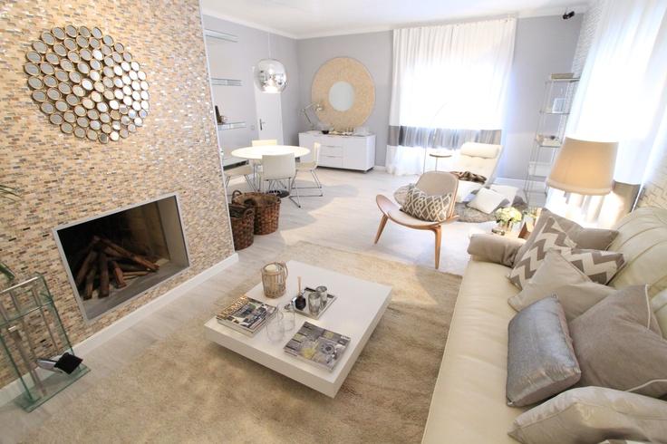grey walls, white, vintage design furniture, fireplace