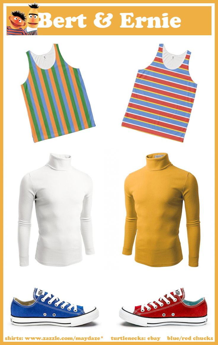 DIY bert and ernie costumes . product mashups . shirts found at www.zazzle.com/maydaze* . turtlenecks on ebay . blue and red chucks