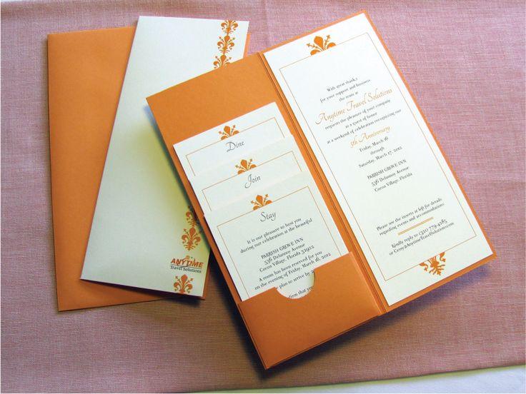 Orange and cream white custom-designed corporate anniversary pocket invitation