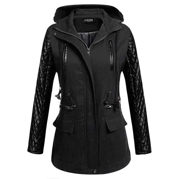 Women Jackets, PU Leather Jacket, Patchwork Jacket, Black, Navy