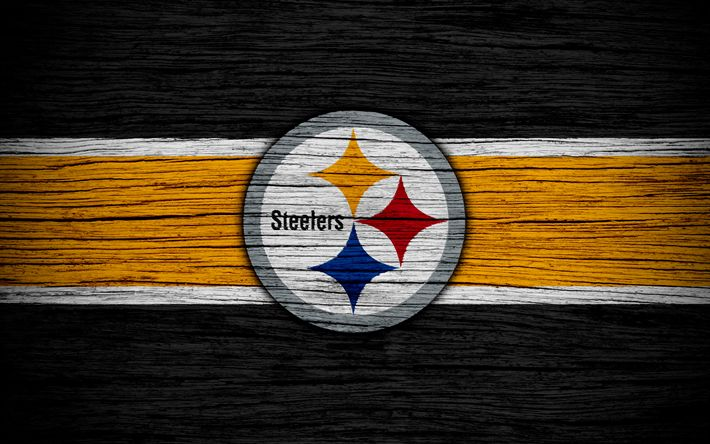 Download wallpapers Pittsburgh Steelers, NFL, 4k, wooden texture, american football, logo, emblem, Pittsburgh, Pennsylvania, USA, National Football League, American Conference
