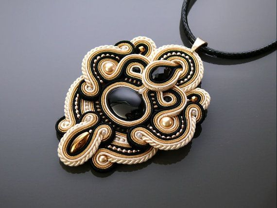 Black and gold Soutache necklace with Onyx .