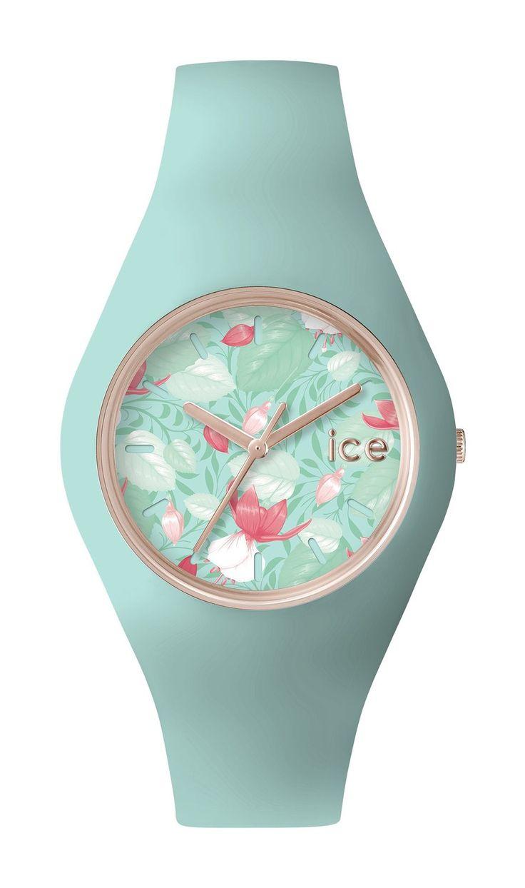 ICE-Watch - ICE.FL.EDE.U.S.15 - Ice Flower - Eden - Montre Femme - Quartz Analogique - Cadran Vert - Bracelet Silicone Vert: Amazon.fr: Montres
