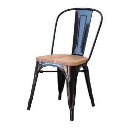 Marias chair - Wooden Seat in White Gloss Metal. Look great with a great wooden raw looking dining table.