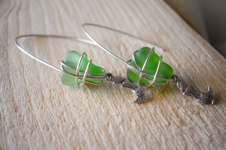 SUMMER SALE! Silver plated wire wrapped genuine green sea glass with mermaid, boho earrings, statement earrings, beachwear, gift for her by Christinasfamily on Etsy