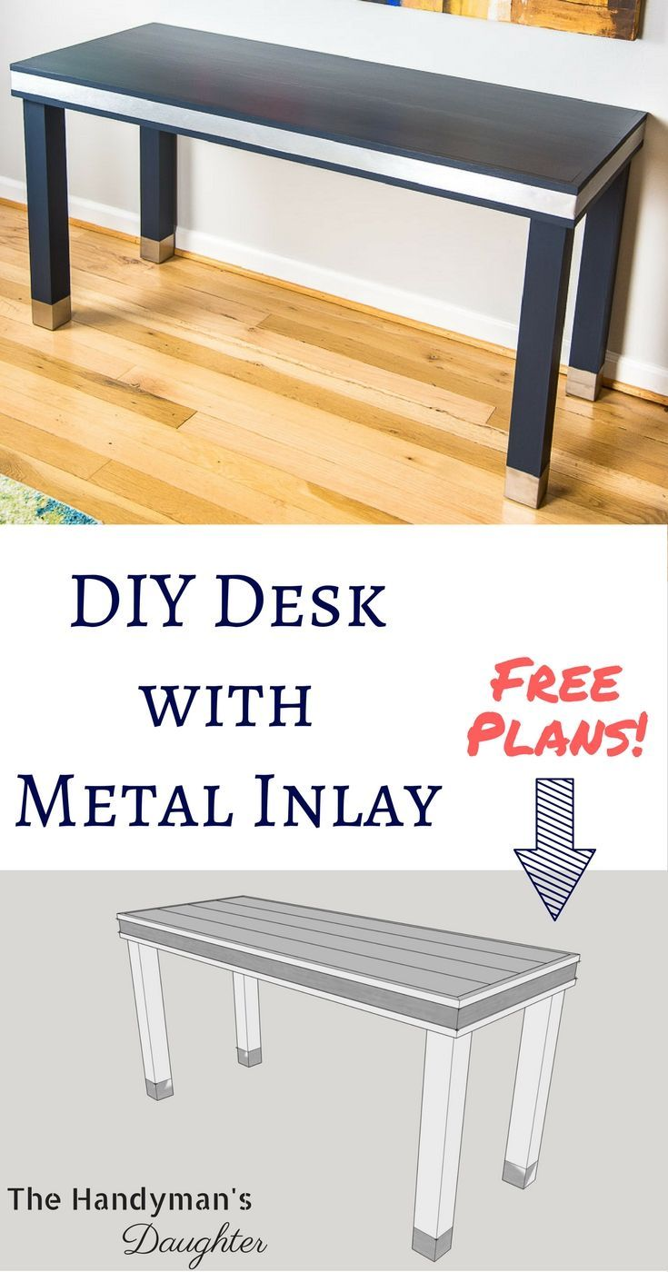 DIY Woodworking Ideas Make this wood and metal desk for your home office! This simple desk design is p...