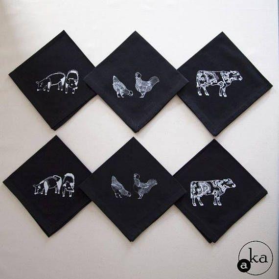 Lot de 6 serviettes de table   coton   dessin original sérigraphie d'art   poule vache cochon ferme campagne coloré flashy drôle poétique