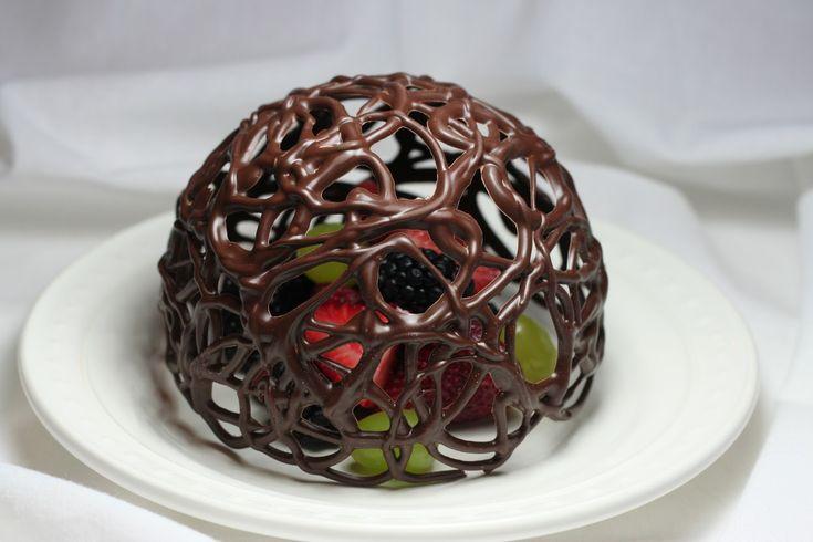 Chocolate desert dome with fresh fruit-beautiful presentation