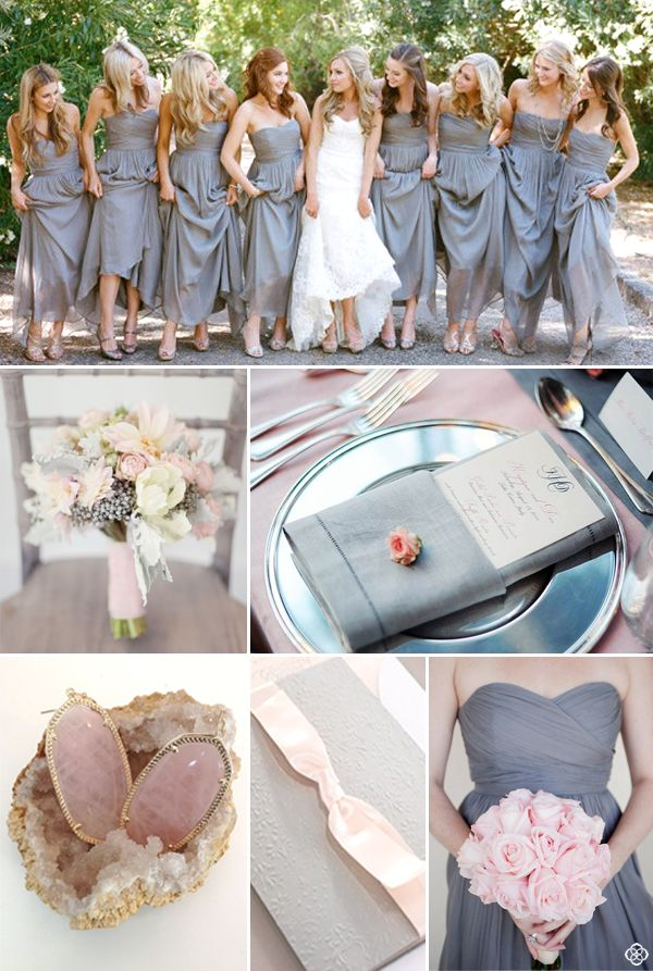 How to accessorize long, chiffon, gray bridesmaid dresses by Kendra Scott. Shop…