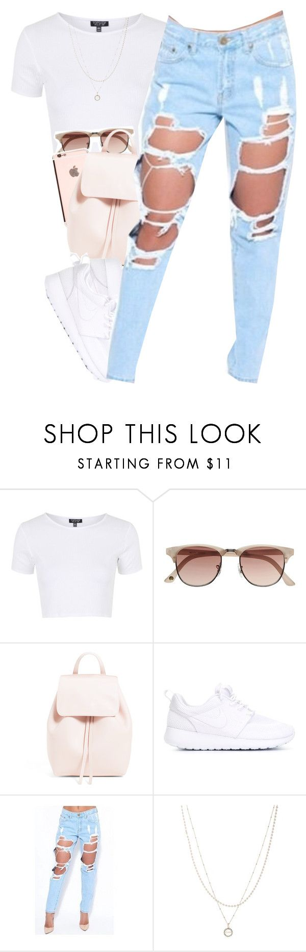 """""""these jeans """" by daisym0nste ❤ liked on Polyvore featuring Topshop, Witchery, NIKE and ASOS"""
