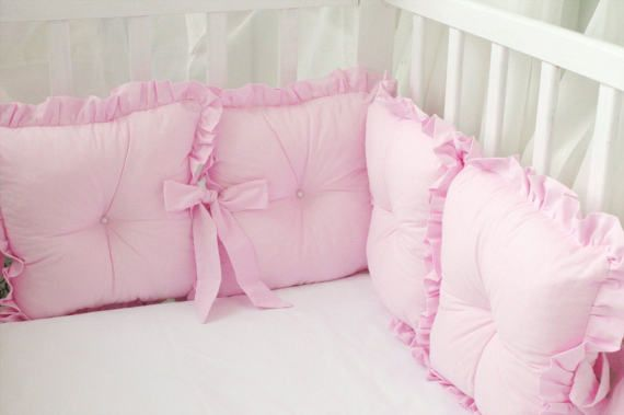 Baby bed bumper baby crib safety pillows with ruffles
