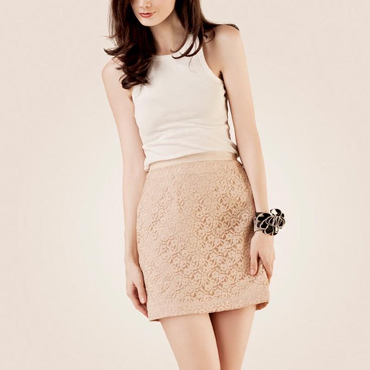 POPLIN Lace Skirt Beige