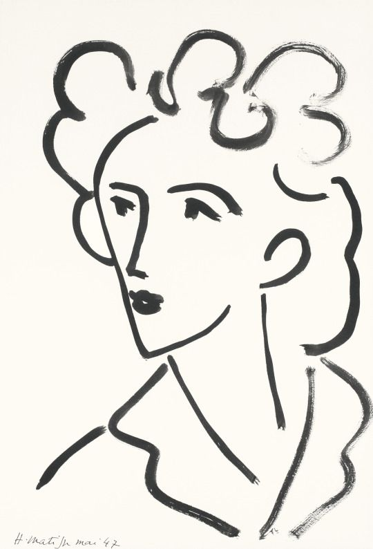 artimportant: Henri Matisse - Tête, Marie José, 1947