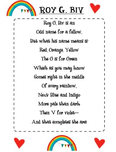 roy g biv poem activity preschool color pinterest poem and activities. Black Bedroom Furniture Sets. Home Design Ideas