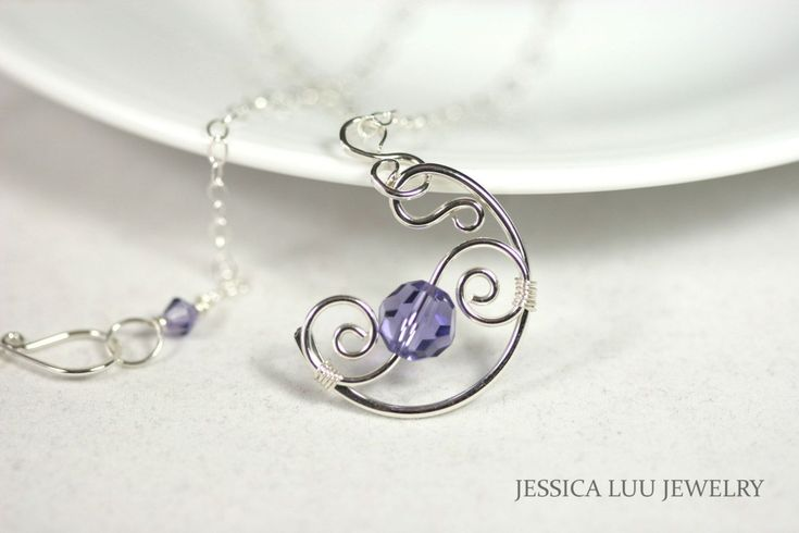 Tanzanite Necklace Wire Wrapped Jewelry Handmade Sterling Silver Jewelry Handmade Blue Swarovski Crystal Necklace Swarovski Crystal Jewelry by JessicaLuuJewelry on Etsy https://www.etsy.com/listing/242545722/tanzanite-necklace-wire-wrapped-jewelry