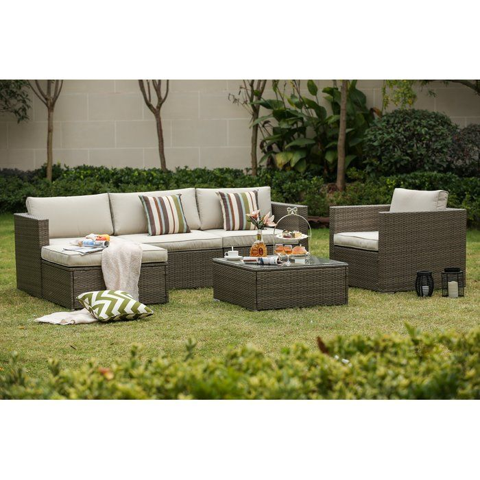 Leonora 6 Piece Rattan Sectional Seating Group With Cushions Furniture Outdoor Furniture Sets Home Bar Furniture