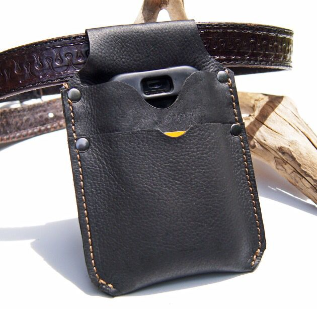 New style release cell phone holster with front pocket from #crawdadleather. https://www.etsy.com/listing/387191742/leather-belt-pouch-with-pocket-black