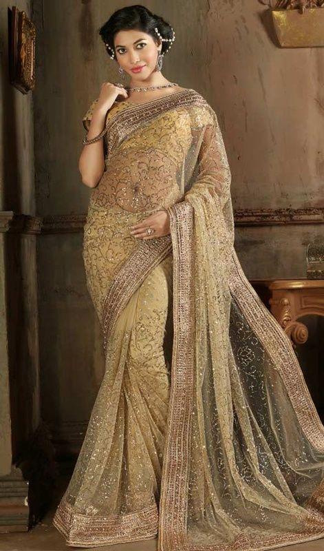 Beige Color Embroidered Net Sari