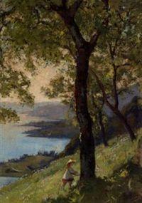 Vue du lac Léman au dessus de Montreux by Auguste Baud-Bovy