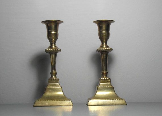 Pair of Brass Candlesticks/Pair of Brass Candle by SukiandPolly
