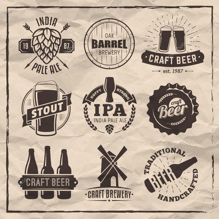 Ensemble de vecteur bières artisanales logos et insignes. Étiquettes de bière rétro sur fond de papier vintage