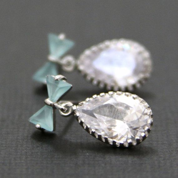 Breakfast at Tiffany's: Bride To B, Breakfast At Tiffany'S, Tiffany Blue, Blue Opals, Breakfast At Tiffanys, The Bride, Something Blue, Posts Earrings, Bows Posts