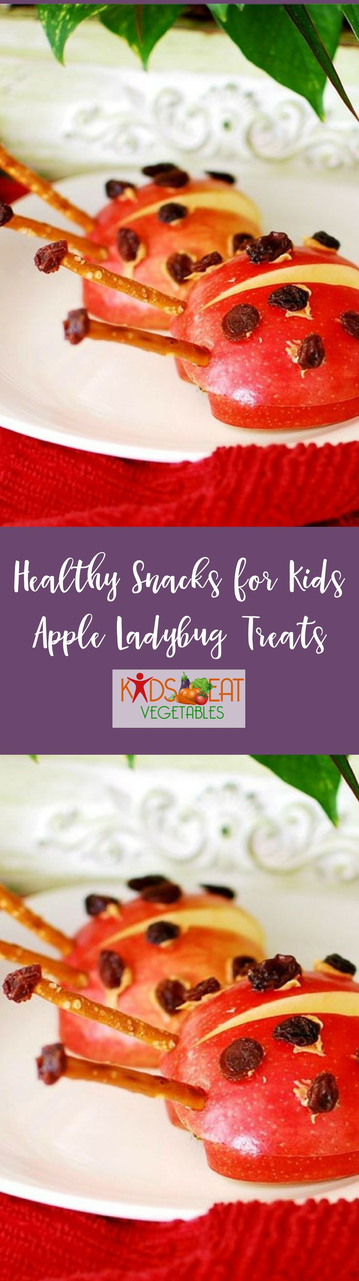 our kids will be delighted when you serve them red apples that are decorated like ladybugs. This simple snack is fun for the kids and easy to make. Slice your apples in half, dab on some natural peanut butter and splash a few spots on its back with raisins. And for a crunchy delight, add two thin pretzels for antennae's.  Apple ladybug treats are the perfect afternoon 'lift me up' when kids get a little hungry and needs a healthy snack. And for kids allergic to nuts, substitute strawberry…