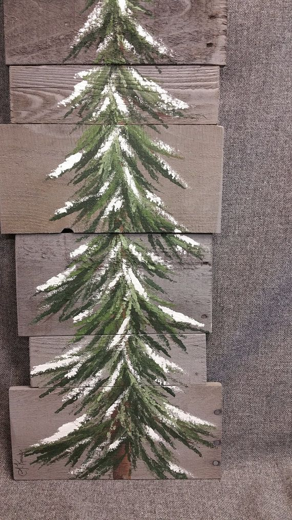 Pine tree, Christmas tree, Reclaimed gray Wood Pallet Art, winter snow, Christmas Hand painted, upcycled, Wall art, Distressed  Original Acrylic painting on reclaimed Pallet boards. This unique piece is 36 x apprx. 12  This pine tree that is painted on a gray stained background, can be used for Christmas decorating and can be used all winter long! Perfect for that skinny wall space or just lean it against the wall.  All of my creations are made of reclaimed boards. They are hand painted and…