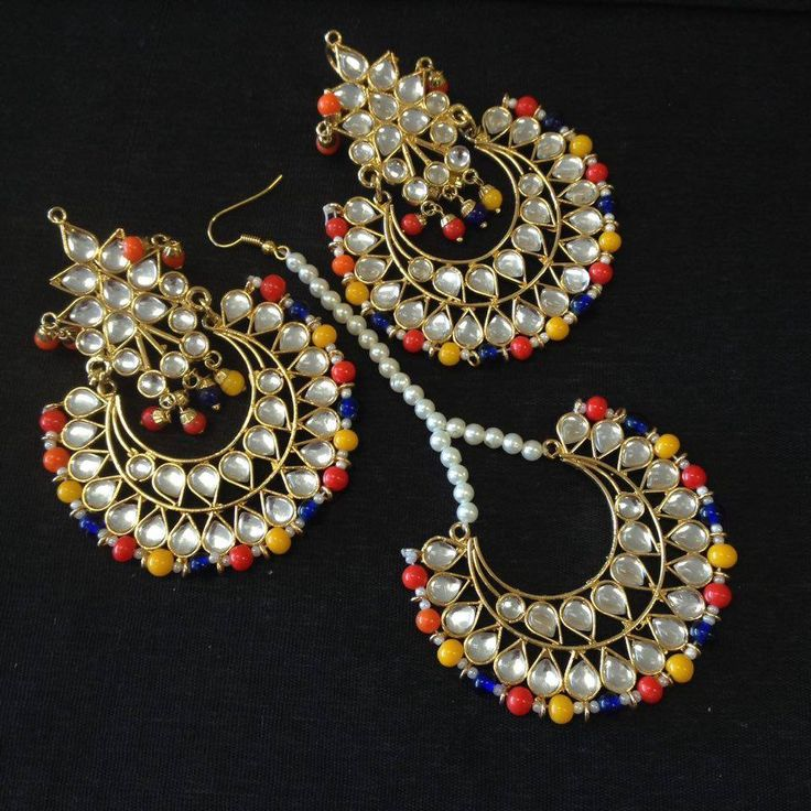 Gold Jadau Taditional Earrings Tika Set Jewelry